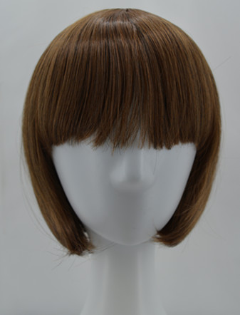 Hair Extensions & Wigs Synthetic None-lacewigs Cosplay Wig Fei-show Synthetic Heat Resistant Fiber Wavy Sky Blue Inclined Bangs Hair Student Hairpiece Short Salon Party Peruca