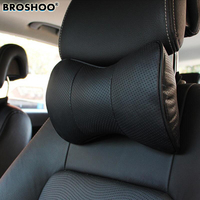 BROSHOO Car Neck Pillow Auto Seat Headrest Genuine Leather Pillows Rest Cushion Headrest Pillow Car Styling Accessories 1Pair