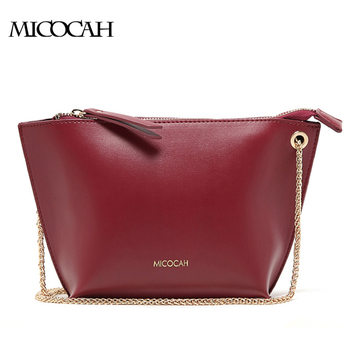 MICOCAH : Fashion PU Leather Women Messenger Bags 2016 New Designer Handbags High Quality Solid With Zipper Chains Handles Hot