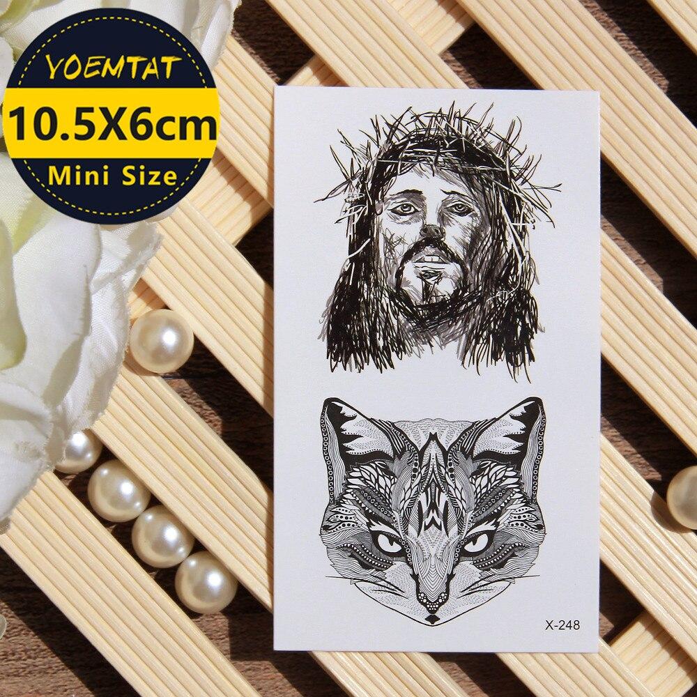 1 adet su geçirmez geçici dövme etiket İsa tilki dövme su transferi sahte dövme flaş dövme için kız kadın erkek