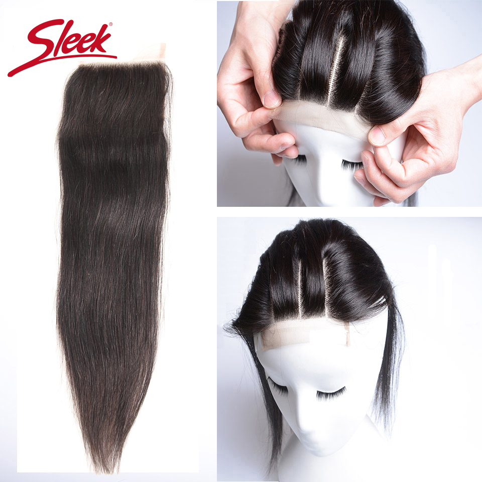 Sleek Human Hair 4*4 Lace Closure Free/ Middle /Three Part Peruvian Straight Hair Closure Natural Color Remy Free Shipping