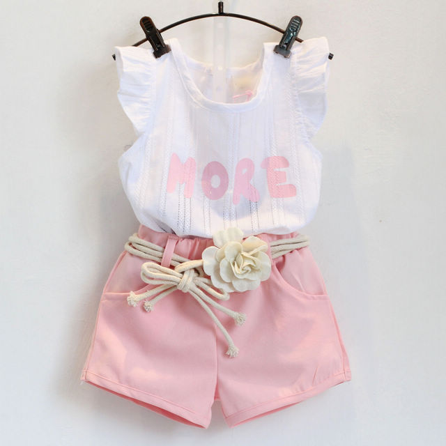 Fashion pink clothes set for girl clothing set suit with flower belt high quality children clothes retail kids baby clothes set