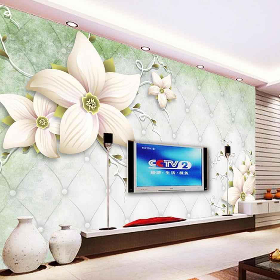 ᐊPersonalizado 3D foto papel pintado a mano flores 3D ...