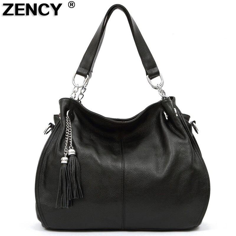 ZENCY 100% cuero genuino bolsos de hombro de las mujeres de color - Bolsos