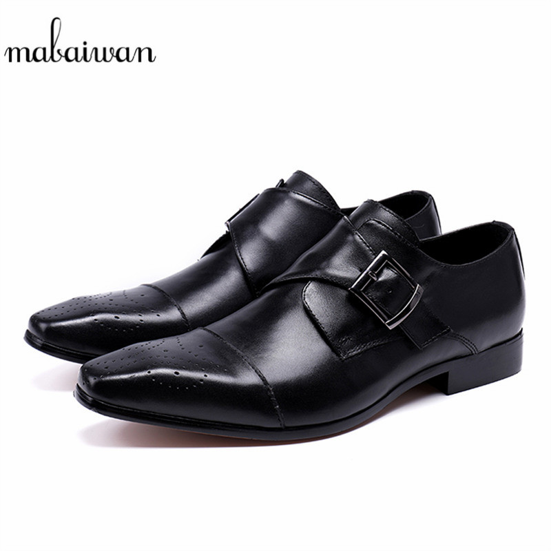 Mabaiwan 2018 Black Fashion Autumn Men Genuine Leather Shoes Mens Formal Business Weddin ...
