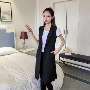 Blouson Long femme noir | Vêtement d'extérieur, sans manches, printemps-automne, pochette