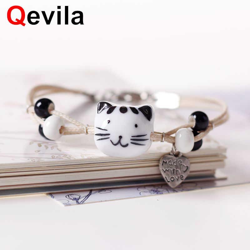 Qevila 2019 אופנה צמידי נשים גברים אוהבי תכשיטי מכירה לוהטת חמוד חרס חתול צמיד חדש קסם עור צמיד מתנות