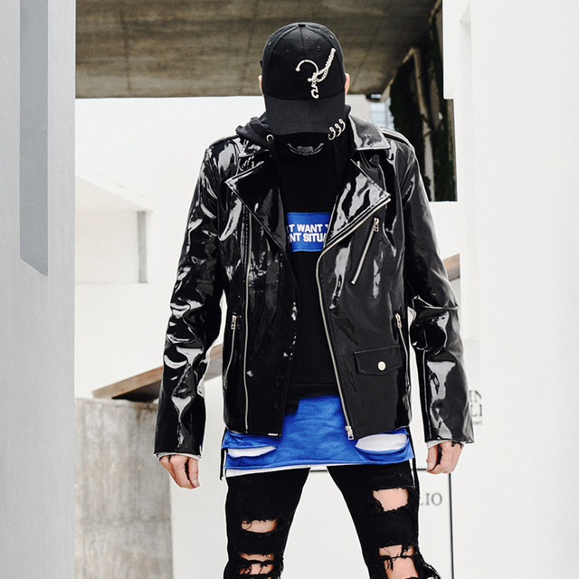 Men Leather Jacket Punk Hip Hop Casual Motorcycle Jacket Overcoat Male Streetwear Coat Stage Show Customes Mens Clothes