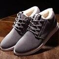 Botines para hombres botas impermeables 2016 superstar felpa corta zapatos calientes barato plana con botas para la nieve botas de gamuza 39-44 invierno botas