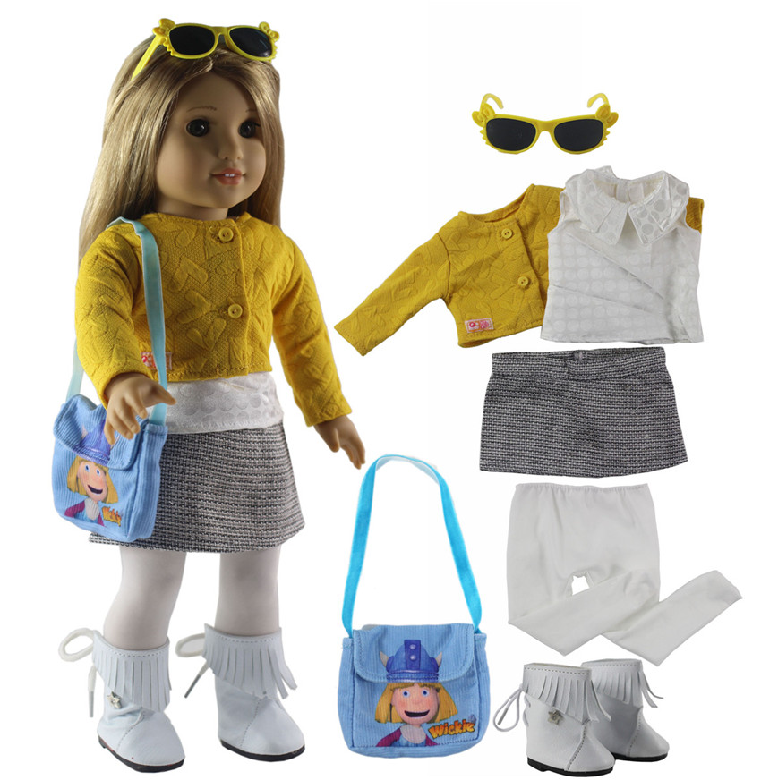 New 7 PCS Doll Clothes+1 Pairs Glasses+1 Pairs Boots+1 Bag+1 Tights for 18 Inch American Girl Bitty Baby Doll X93 american girl doll clothes 4 styles elsa blue lace princess dress doll clothes for 16 18 inch dolls baby doll accessories x 2