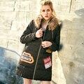 2016 new winter long slim down coat female raccoon fur collar coat women fashion down padded