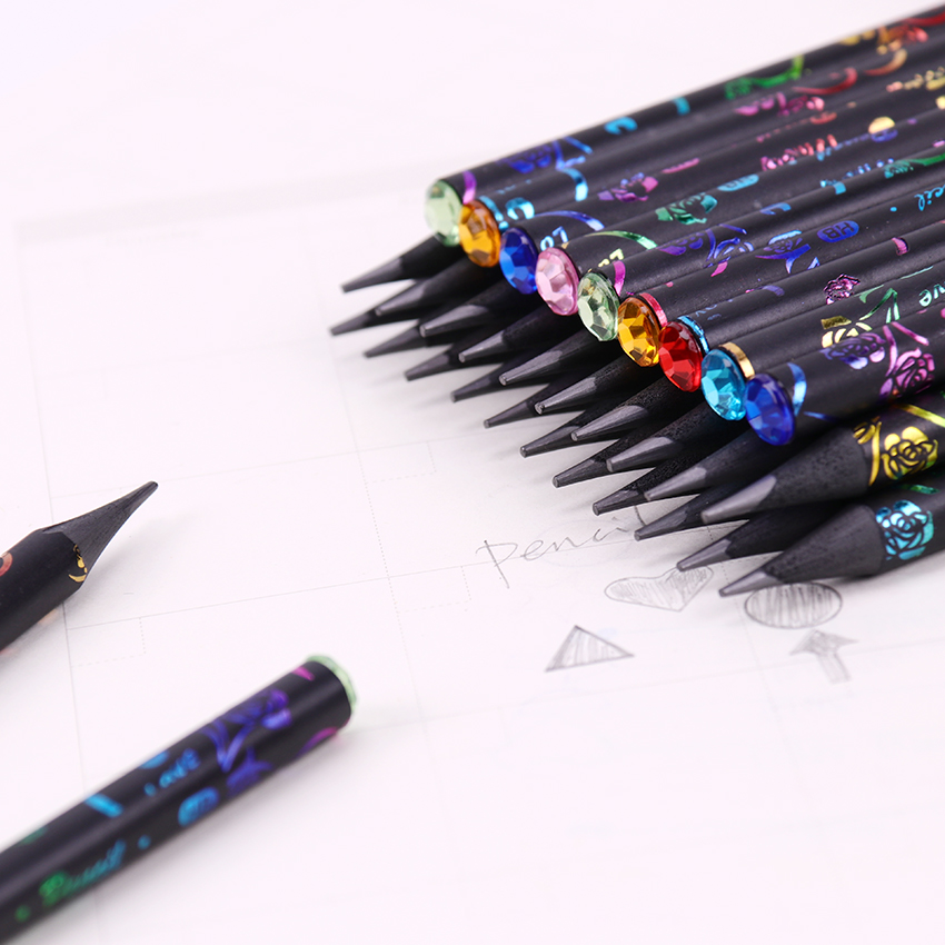 6PCS Printing Pencil HB Diamond Color Pencil Stationery Items Cute Pencils Office School Drawing Supplies