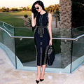 2016 Rayon Rivets Woman Dresses Fashion Star Style Quality Bandage Dinner Dresses Sleeveless Bodycon Metal Party Dresses HL166