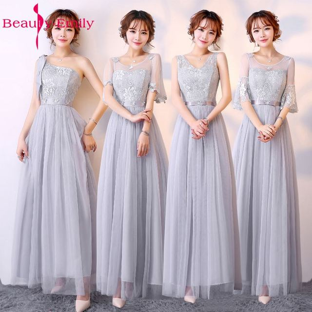 Beauty Emily Lace Long A Line Grey Bridesmaid Dresses 2017 Off The Shoulder