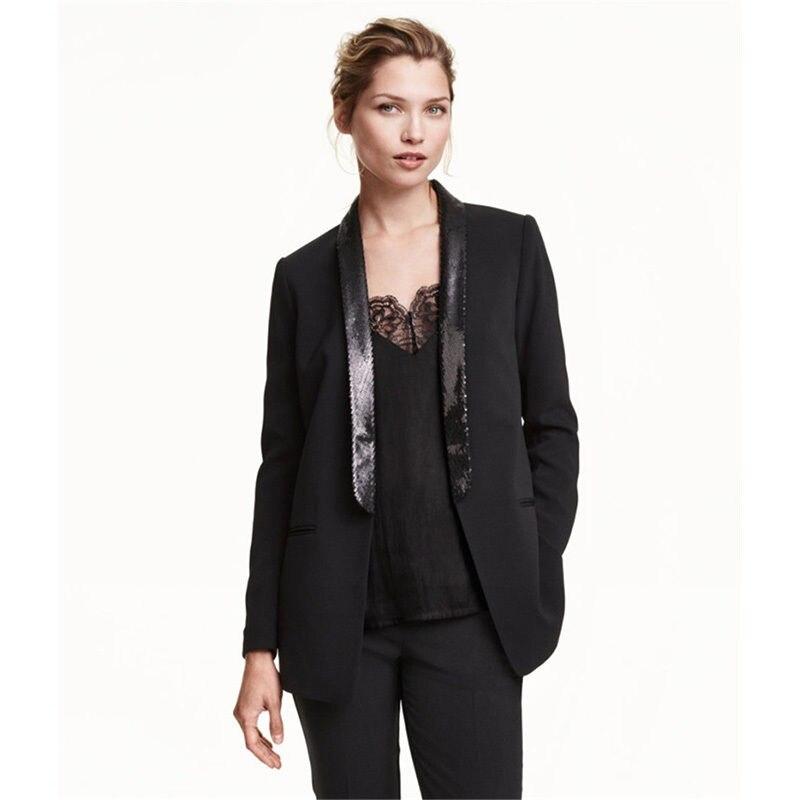 Black 2 Piece Set Womens Business Suits Office Uniform Shawl Lapel Women Trouser Suit Custom Bespoke New 100% Suits B07