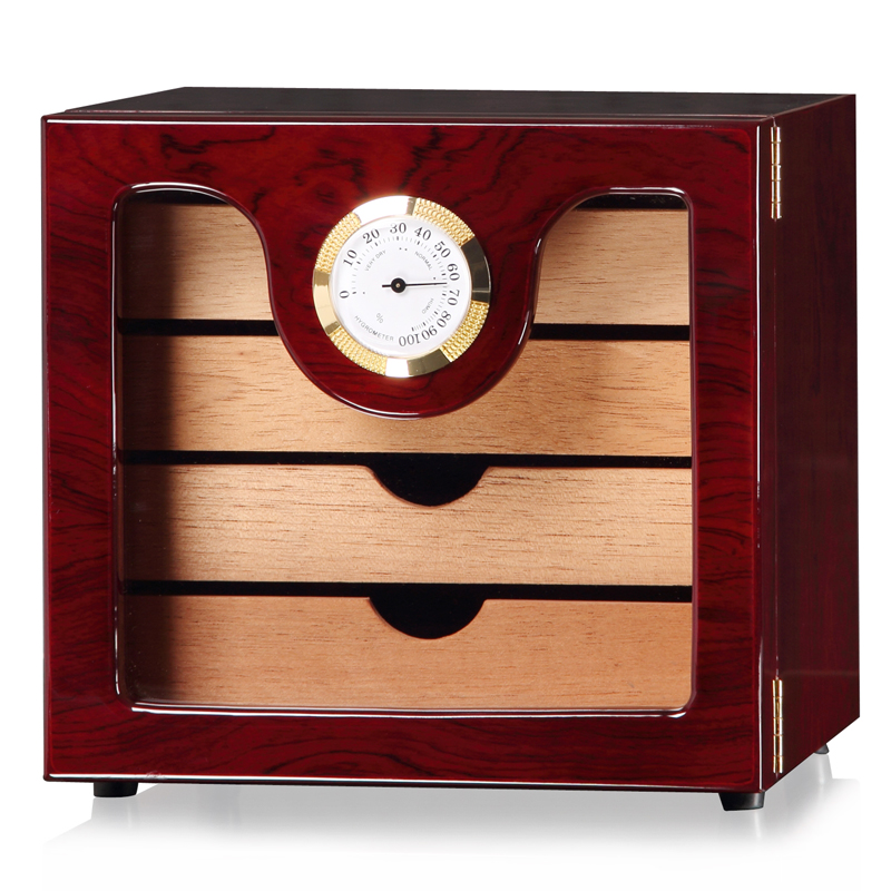 LUXFO 4 Layers  Cigar Humidor Box Cedar Wood Lined Hygrometer Humidifier Smoking Cigar Accessories Gifts