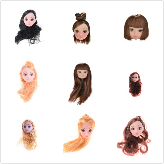 Fashion Beauty Short Long Kids Toy Doll Head With Black Brown Hair DIY Accessories Doll For 1/6 BJD Doll House