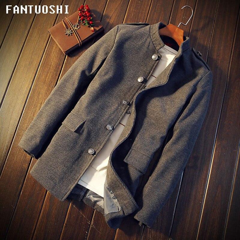 2018 New Autumn Winter Men Jackets Coat Long Section Fashion   Trench   Men windbreaker slim Casual Fit Overcoat Jacket Gray 5XL