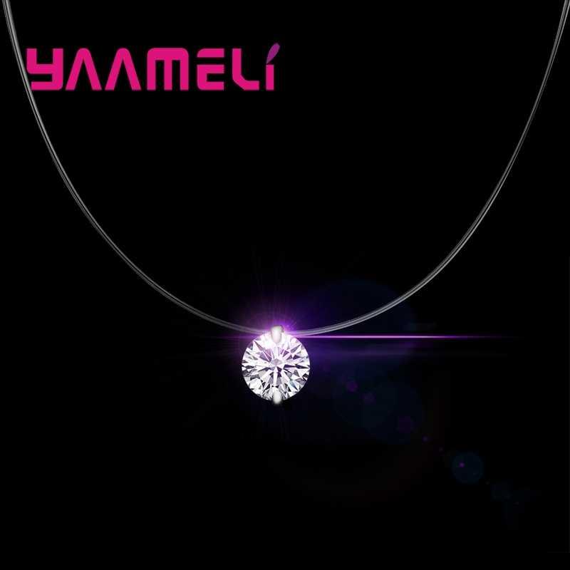 925 Sterling Silber Dazzling Zirkon Halskette Invisible Transparent Angelschnur Anhänger Colliers Kragen Schmuck Für Frauen