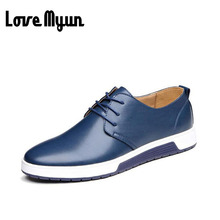 Zapatos de moda para hombre zapatos de cuero de los hombres de cuero genuino zapatos transpirables zapatos Cómodos Planos ocasionales atan para arriba el tamaño 38-44 AA-15