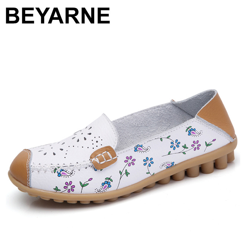 BEYARNE 2018 spring women flat shoes genuine leather ballet flats shoes cutout flats ladies slip on loafers nurse boat shoes flat shoes women pu leather women s loafers 2016 spring summer new ladies shoes flats womens mocassin plus size jan6