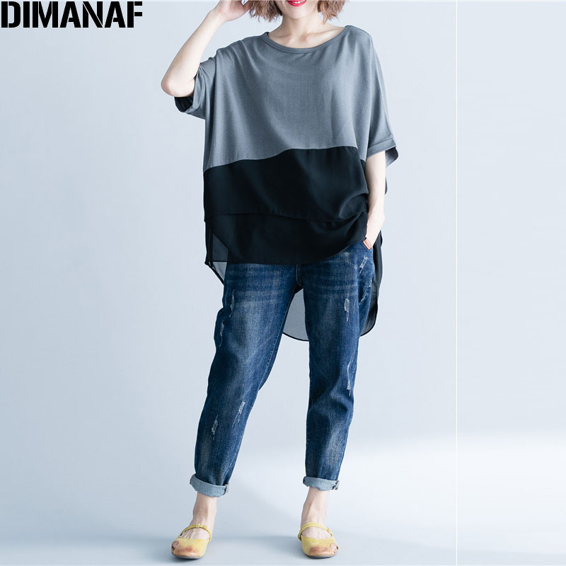 DIMANAF Women T-Shirt Summer Plus Size Chiffon Patchwork Elegant Oversized Irregular Basic Tops Female Casual Loose Tees Shirt