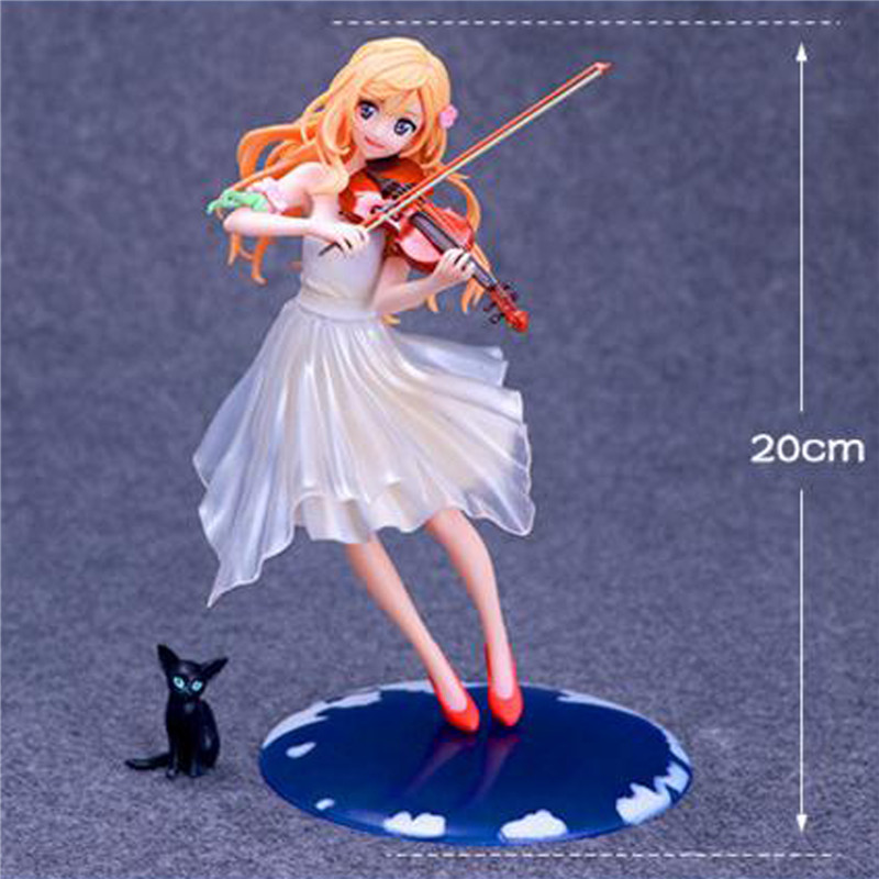 ФОТО Promspland 1pc/lot Anime Your Lie in April Kaori Miyazono Dress Ver. 1/8 PVC Figure Toys For Kids Collection Action Figures 20cm
