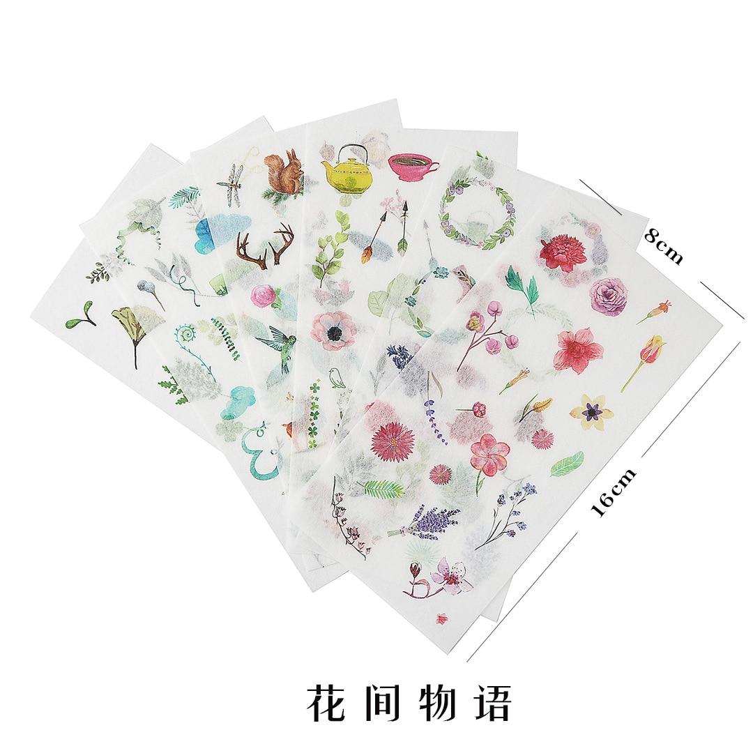Купить с кэшбэком 8 Styles Creative Beautiful Plants Dessert Splitting Line and Paper Sticker DIY Handbook Notebook Decorative Stationery Sticker