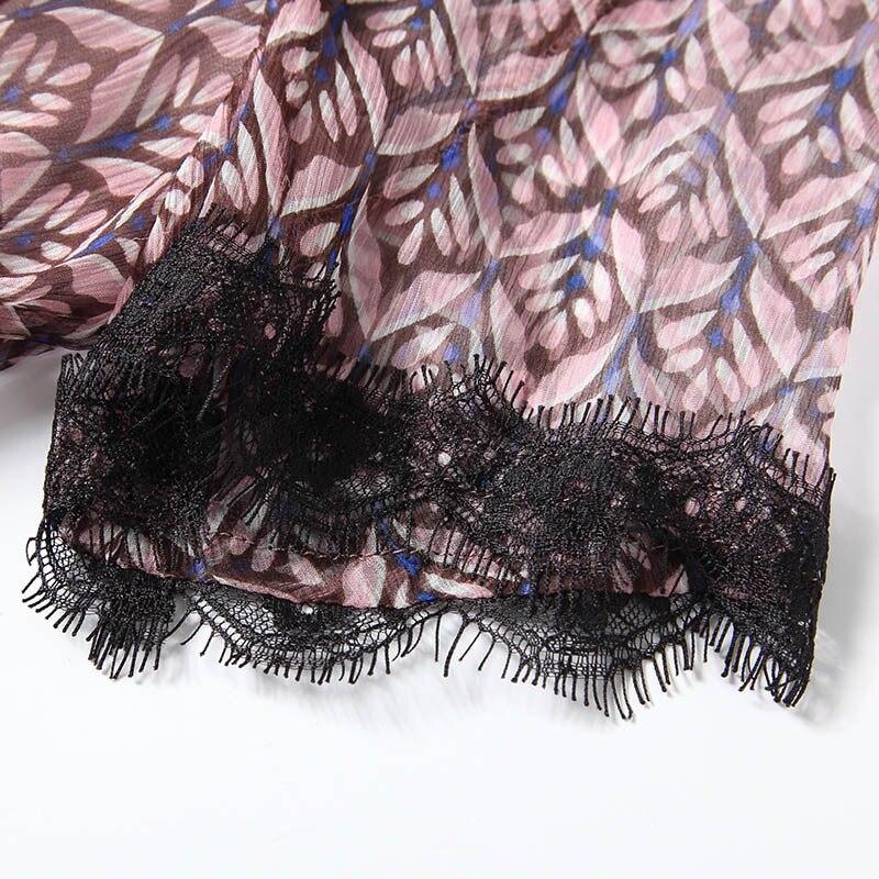 2018 Contraste En Élégant Pièce Dentelle Noir Robe Croix Arrivée Femmes Soie Avant Naturelle 2 As Midi Photo Patchwork Nouvelle D'été wvqdIa