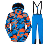 VECTOR men's ski suit outdoor skiing sports warm clothing printing super light waterproof windproof hiking snow suit male.