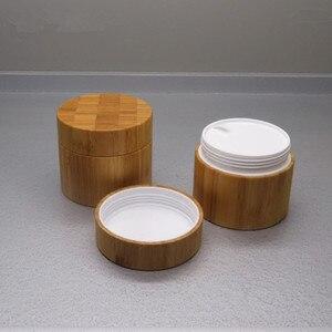 Image 2 - 250g di bambù contenitore di legno di Plastica Vasetto di Crema, vasetti di crema di packaging cosmetico di bambù Vuota di plastica vaso Cosmetico con coperchio riutilizzo