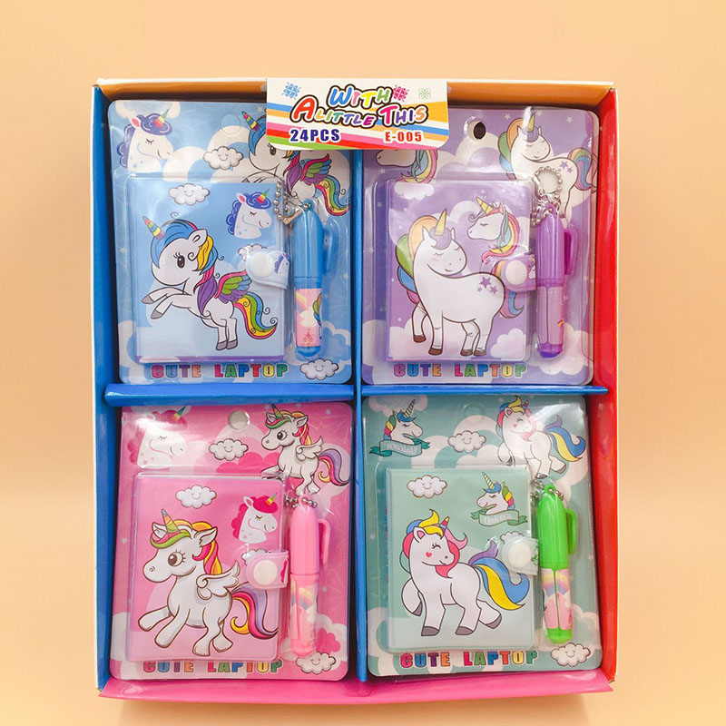 Cartoon Item Kawaii Unicorn Flamingo Novelty <font><b>Notebook</b></font> Mini Notepads With Free Ballpoint Pen Creative Stationery For Kids Gift image