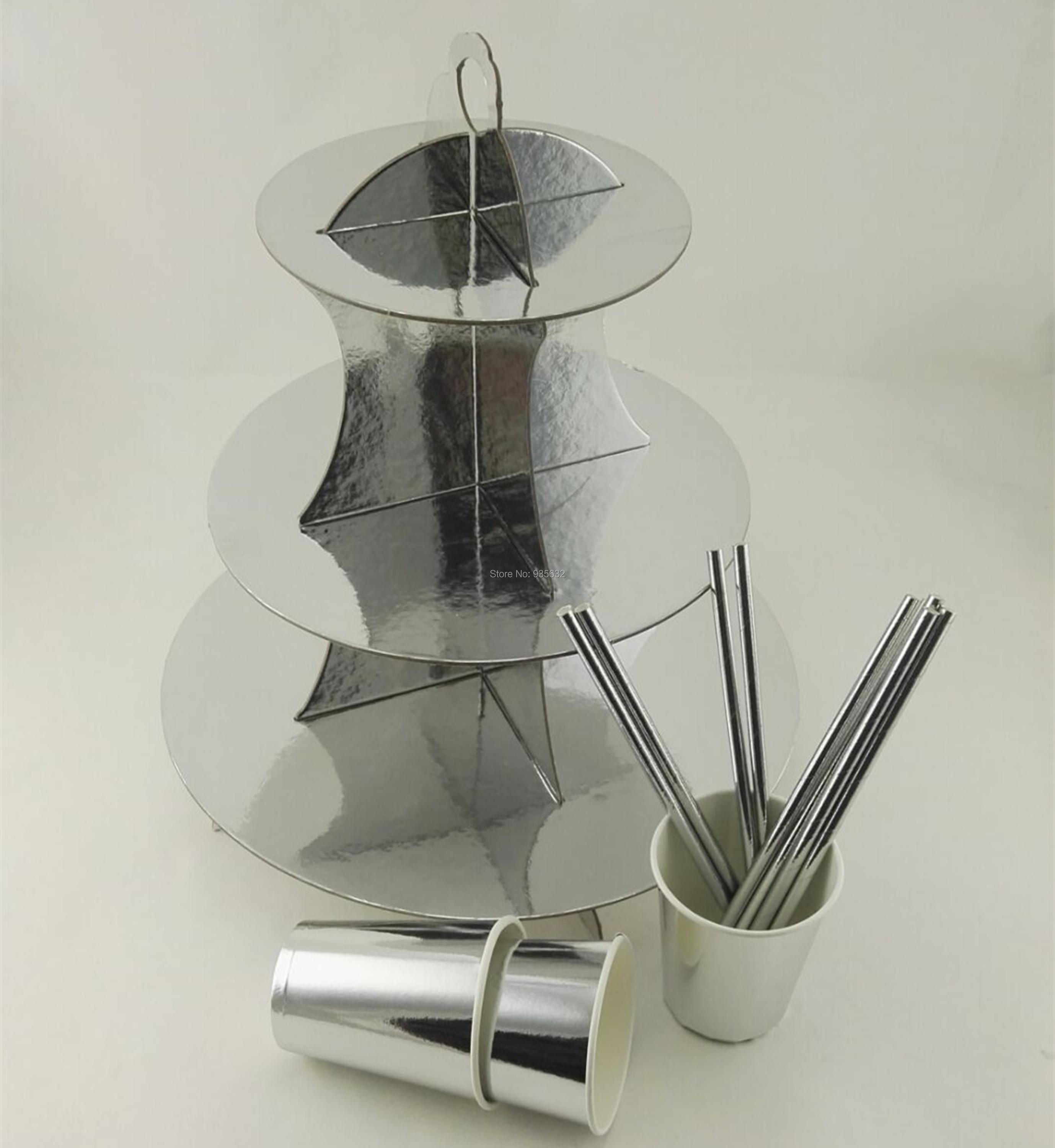 Party Foil <font><b>Gold</b></font> Silver Three Layer Paper Cupcake Cake Stand Drinking Paper <font><b>Cups</b></font> and Paper Straws for Party Wedding Birthday
