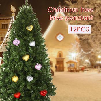 12 sztuk boże narodzenie miłość wisiorek w kształcie serca miłość w kształcie piłka wiszące ozdoby boże narodzenie drzewo dekoracje ślubne pokój Party Decor tanie i dobre opinie Christmas decoration