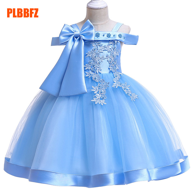 Big Bow Girl Ball Gown Wedding Clothes First Communion Princess Dress Baby Costume Beading Vestido Children Party Clothing