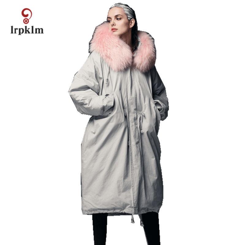2017 New Fashion High Quality Women Winter Long   Down   Jackets Big Fur Hooded Female Warm Duck   Down     Coat   Slim Waist Grey PQ132