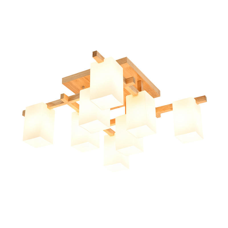 Nordic Simple Wood Suspended Lights 4/6/8 Lights Modern Glass Lampshade Bedroom Living Room Pendant Lamp Fixture Lighting PL601 6 lights modern metal chandeliers american country fabric lampshade suspension light fixture living room bedroom lighting pl662