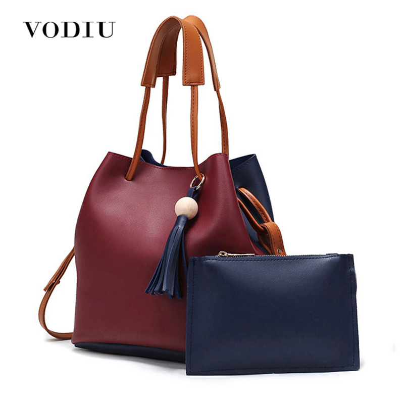 Women Bags Handbag Tote Over Shoulder Crossbody Messenger Leather Female Set Bag Bucket Fringe Tassel Drawstring Bag 2017 Casual women bag handbag tote over shoulder crossbody messenger leather female red bucket lock big casual ladies luxury designer bags