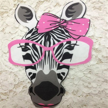 Fashion Embroider Patch 23CM Glasses Zebra Clothes Stickers Thermal Transfer Printing T shirt Women iron on patches for clothing fashion patch diy clothes super cat 3d stickers thermal transfer printing iron on patches for clothing t shirt free shipping