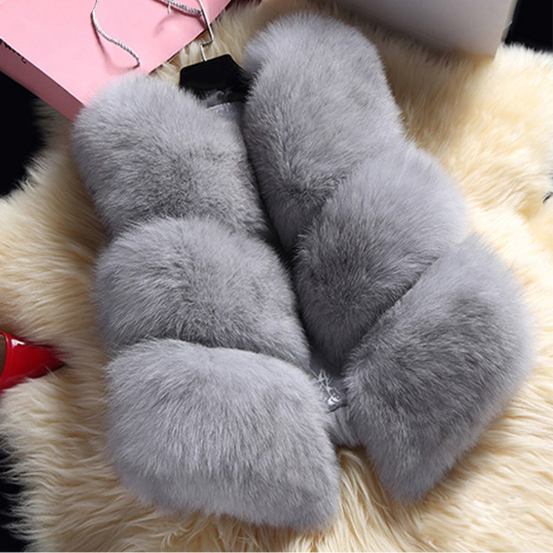 fedorova New 2017 Winter Women s Thick Warm Faux Fox Fur Vest High Quality Fashion O
