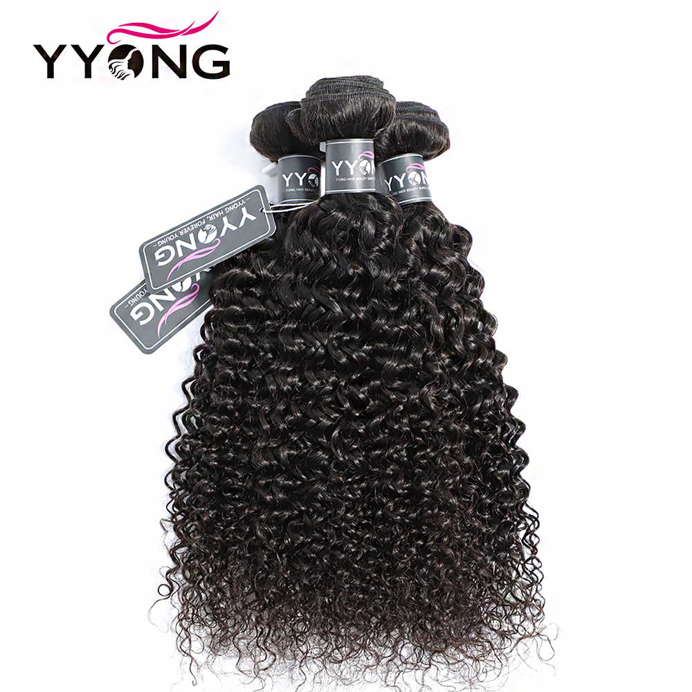Yyong  Kinky Curly 100%   Bundles  Hair  3 Pcs/Lot Natural Color 8-26 Hair  Deals 4