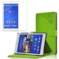 Luxury Folio Stand Fashion Print Leather Case Cover 1x Screen Protector For Sony Xperia Z3 Tablet