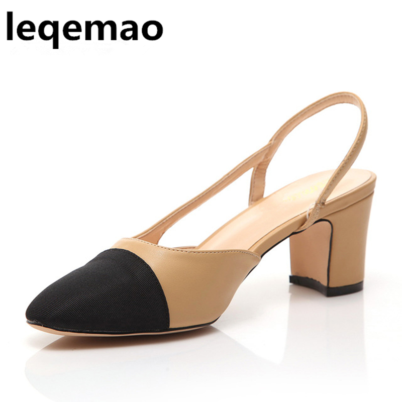 New Fashion Summer High Quality Women Real Genuine Leather Mid-Heels Pumps Fashion Close toe Sandals Shoes Size 35-40 Leqemao handmade genuine leather sandals women shoes lady high quality 2017 summer red silvery closed toe medium heels big size 10 41 42