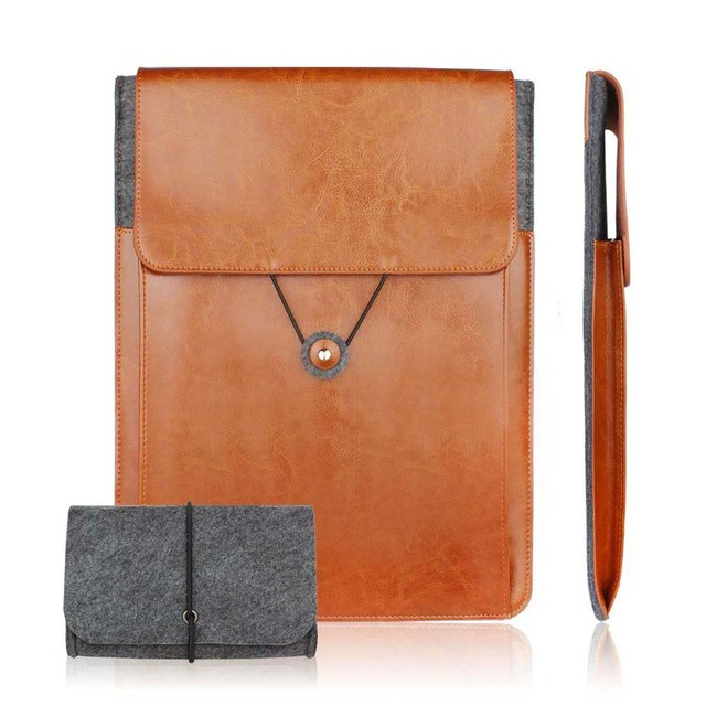 11.6 13.3 15.6 inch Genuine Leather Vintage Envelope ultrbook Laptop Sleeve case for macbook Air Pro Retina pouch charger bag