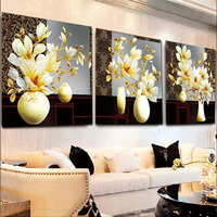 Diamond Embroidery Needlework DIY Floral Painting 5D Vase Flower Triptych Cross Stitch Diamond Wall Stickers Home