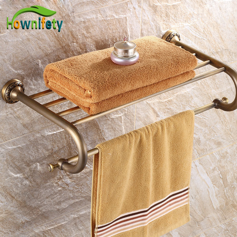 Classical Antique Brass Bathroom Wall Mounted Carved Flower Towel Shelf antique brass bathroom shelf wall mounted towel storage holder w towel bar new