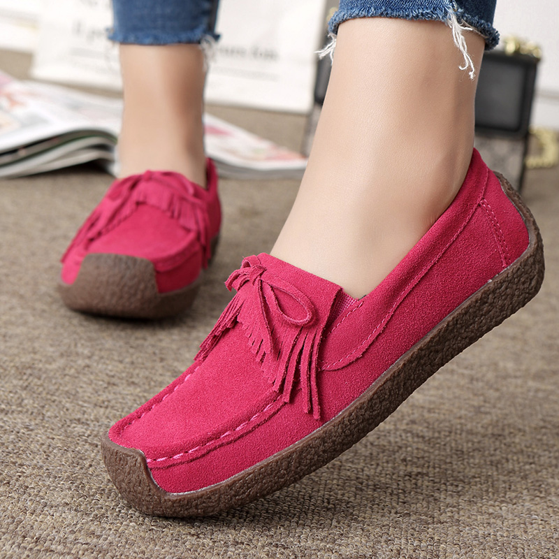 Women Flat Platform Loafers Ladies Elegant   Suede   Moccasins Fringe Shoes Woman Slip On Tassel Moccasin Women Casual Shoes