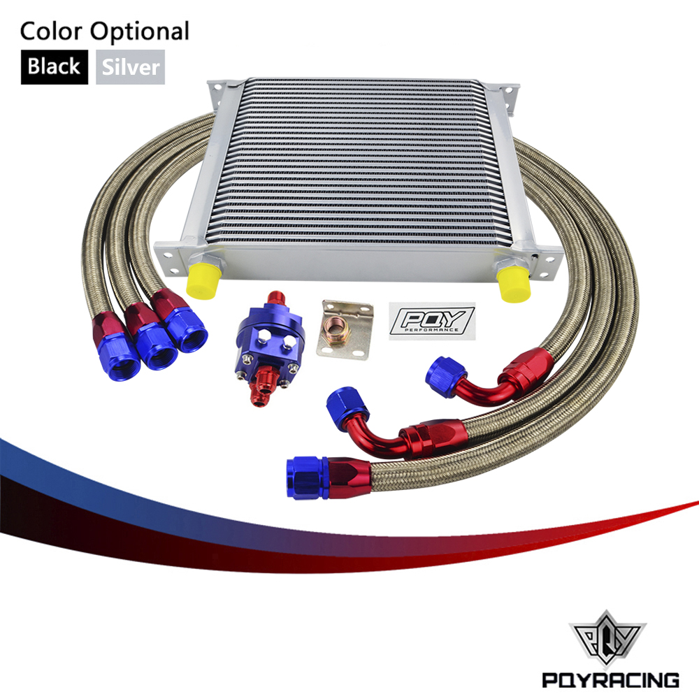 PQY RACING - UNIVERSAL 30 ROWS AN10 OIL COOLER KIT +OIL FILTER ADAPTER + NYLON STAINLESS STEEL BRAIDED HOSE WITH PQY STICKER+BOX pqy racing universal 30 row an10 engine transmiss oil cooler kit filter relocation blue page 4