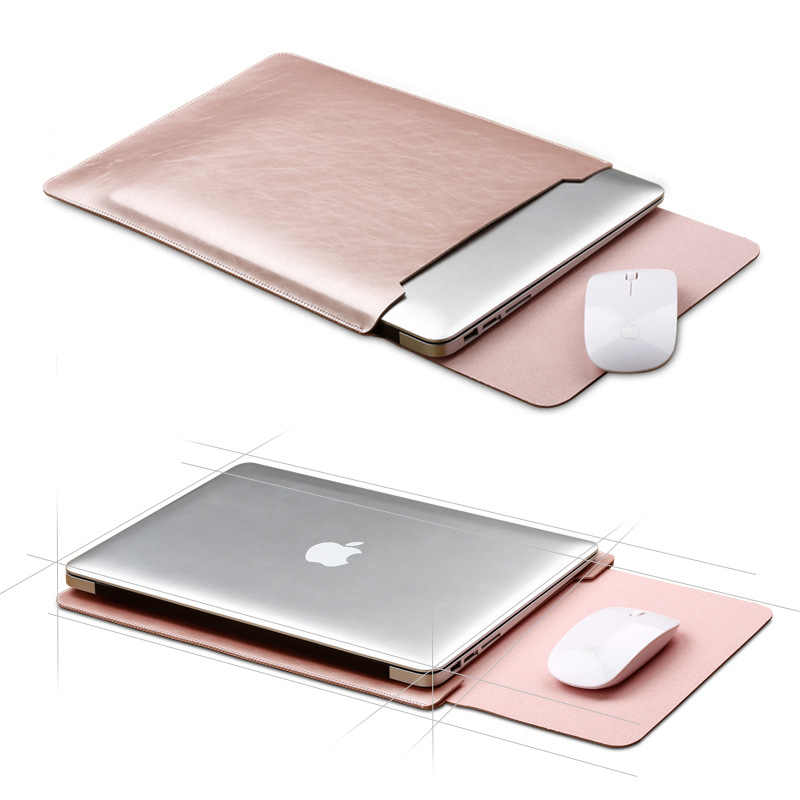 Maus Pad Pouch Notebook Fall für Xiaomi Macbook Air 11,6 12 13 Abdeckung Retina Pro 13,3 15 15,6 Mode Laptop hülse Leder Tasche