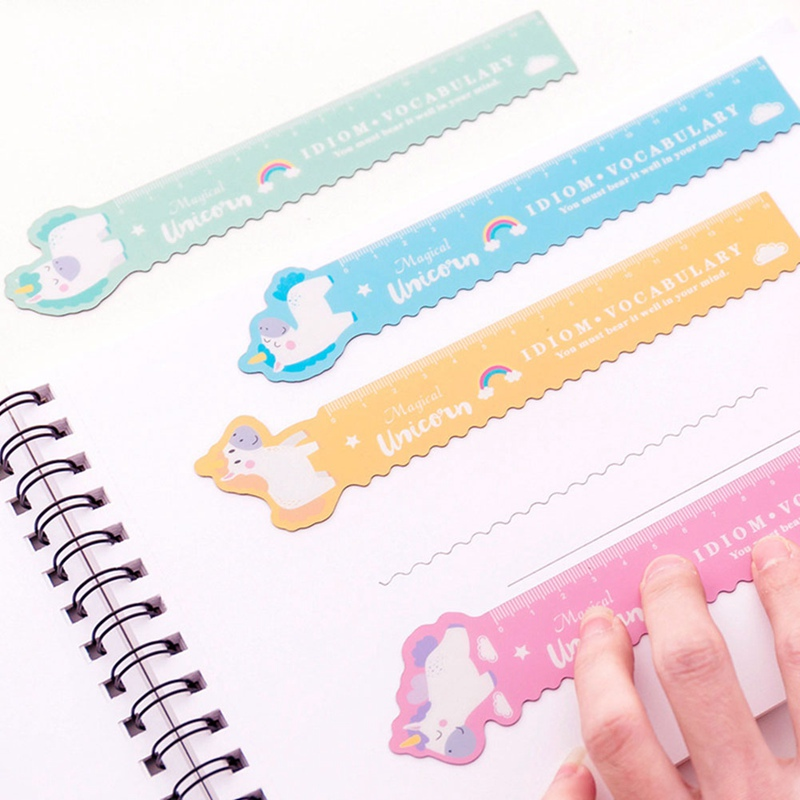 1Pcs Unicorn Magnetic Ruler Kawaii Stationery Novelty Cute Rulers Student Soft Design Ruler Set Of Drafting Rules School Supplie(China)